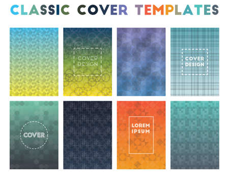 Classic Cover Templates. Alluring geometric patterns. Radiant background. Vector illustration.