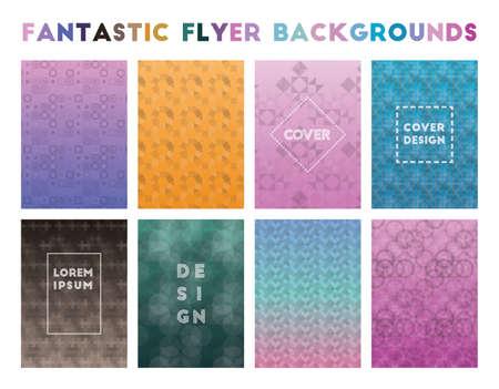Fantastic Flyer Backgrounds. Admirable geometric patterns. Majestic background. Vector illustration.