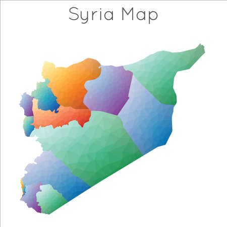 Low Poly map of Syria. Syria geometric polygonal, mosaic style map.