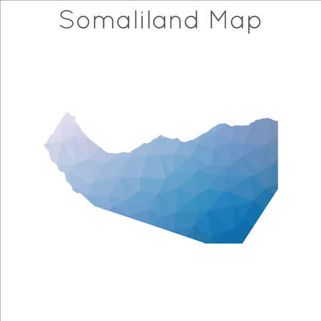 Low Poly map of Somaliland. Somaliland geometric polygonal, mosaic style map.