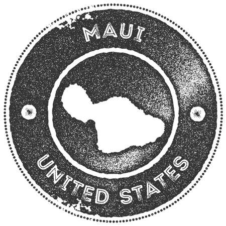 Maui map vintage stamp. Retro style handmade label, badge or element for travel souvenirs. Dark grey rubber stamp with island map silhouette. Vector illustration.