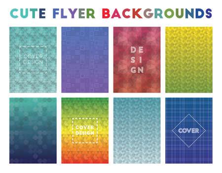 Cute Flyer Backgrounds. Adorable geometric patterns. Lively background. Vector illustration. Foto de archivo - 124229648