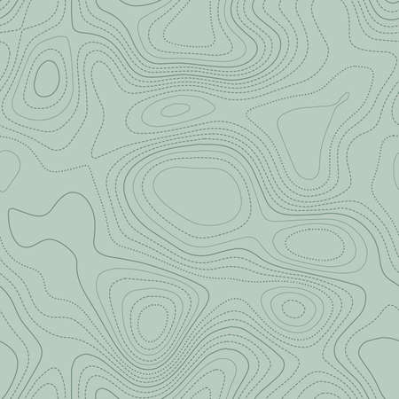 Abstract topography. Actual topographic map in green tones, seamless design, terrific tileable pattern. Vector illustration.