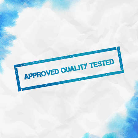 Approved Quality Tested rectangular stamp. Textured turquoise seal with text, watercolor style. Vector illustration.