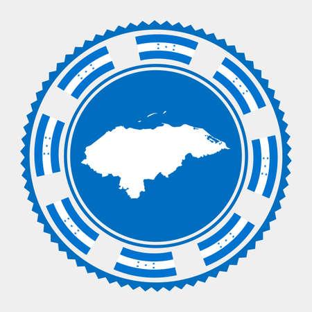 Honduras flat stamp.   map and flag of Honduras. Vector illustration.