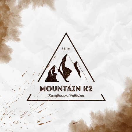 K2 Triangular mountain sepia vector insignia. K2 in Karakoram, Pakistan outdoor adventure illustration. Climbing, trekking, hiking, mountaineering and other extreme activities template.