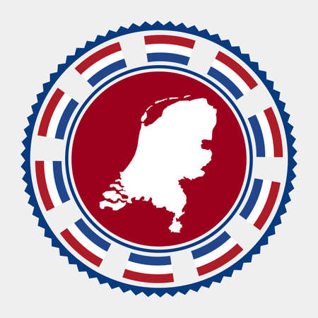 Netherlands flat stamp.   map and flag of Netherlands. Vector illustration. Vectores