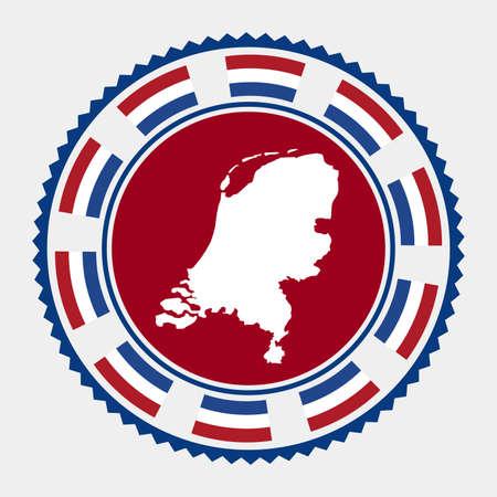 Netherlands flat stamp.   map and flag of Netherlands. Vector illustration. Illustration