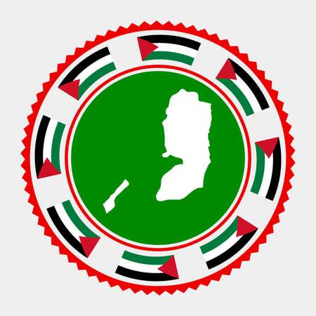 Palestine flat stamp.  map and flag of Palestine. Vector illustration. Illustration