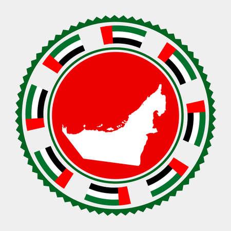 UAE flat stamp.  map and flag of UAE. Vector illustration.