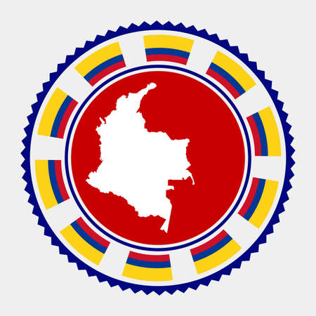 Colombia flat stamp. map and flag of Colombia. Vector illustration. Illustration