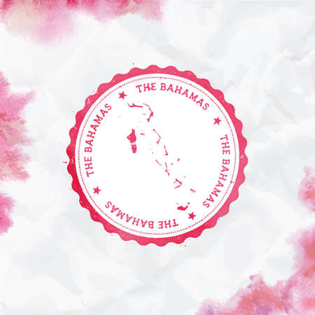 Bahamas watercolor round rubber stamp with country map. Red Bahamas passport stamp with circular text and stars, vector illustration.