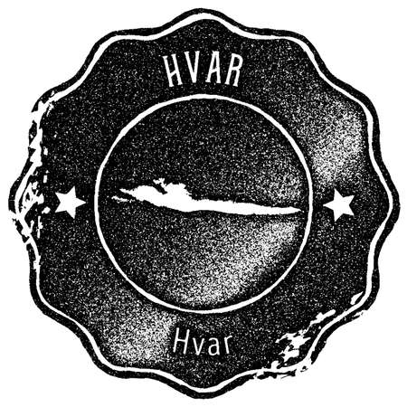 Hvar map vintage stamp. Retro style handmade label, badge or element for travel souvenirs. Black rubber stamp with island map silhouette. Vector illustration.