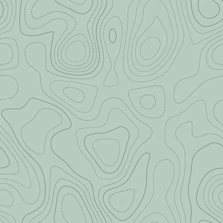 Amazing topography. Actual topographic map in green tones, seamless design, stunning tileable pattern. Vector illustration.