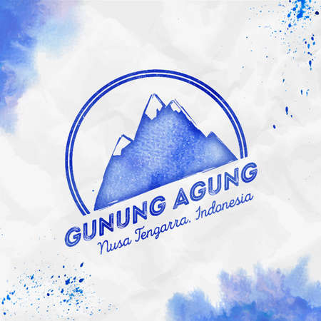 Gunung Agung Round mountain blue vector insignia. Gunung Agung in Nusa Tengarra, Indonesia outdoor adventure illustration.