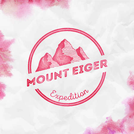Mountain Eiger Round expedition red vector insignia. Eiger in Alps, Switzerland outdoor adventure illustration.
