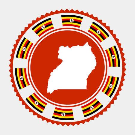 Uganda flat stamp.   map and flag of Uganda. Vector illustration. Illustration