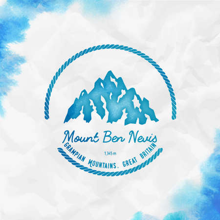 Mountain Ben Nevis Round hiking turquoise vector insignia. Ben Nevis in Grampian Mountains, Great Britain outdoor adventure illustration.  イラスト・ベクター素材