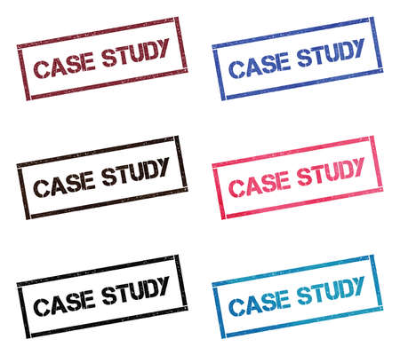 Case study rectangular stamp collection. Textured seals with text isolated on white backgound. Stamps in turquoise, red, blue, black and sepia colors. Colourful watercolor style vector illustration.