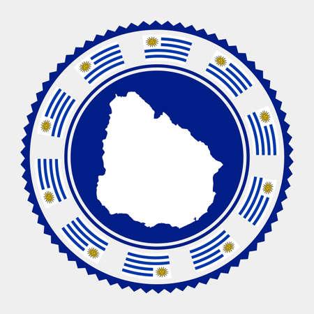 Uruguay flat stamp.  map and flag of Uruguay. Vector illustration. Illustration