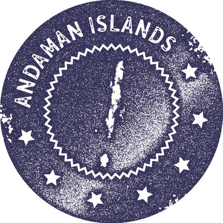 Andaman Islands map vintage stamp. Retro style handmade label, badge or element for travel souvenirs. Deep purple rubber stamp with island map silhouette. Vector illustration.