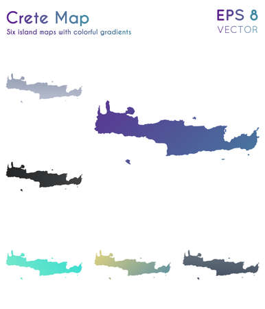 Map of Crete with beautiful gradients. Appealing set of Crete maps. Fascinating vector illustration. Çizim