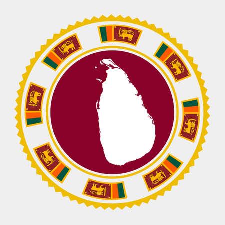 Sri Lanka flat stamp.  map and flag of Sri Lanka. Vector illustration.
