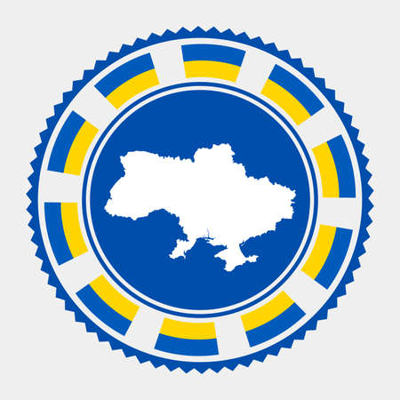 Ukraine flat stamp. map and flag of Ukraine. Vector illustration.