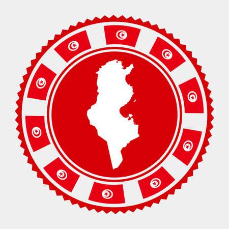 Tunisia flat stamp. map and flag of Tunisia. Vector illustration. Illustration