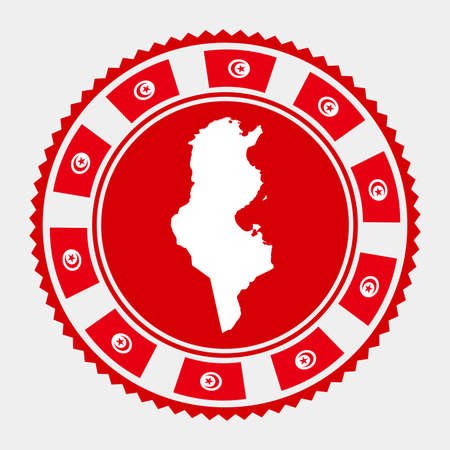 Tunisia flat stamp. map and flag of Tunisia. Vector illustration.