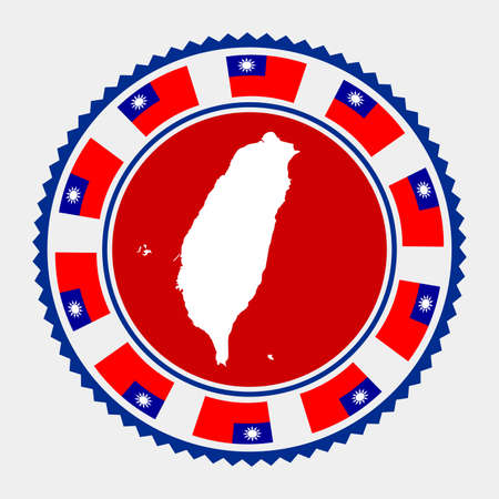 Taiwan flat stamp.  map and flag of Taiwan. Vector illustration.