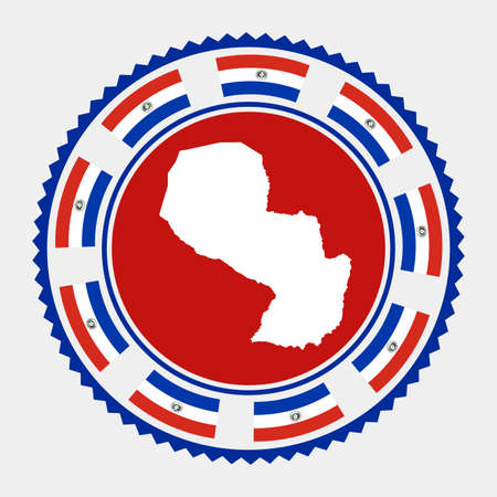 Paraguay flat stamp.  map and flag of Paraguay. Vector illustration.