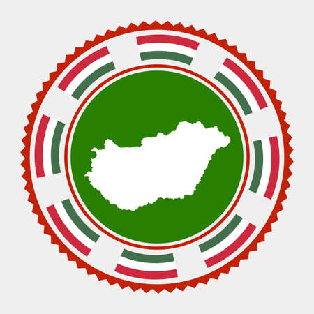 Hungary flat stamp.  map and flag of Hungary. Vector illustration.