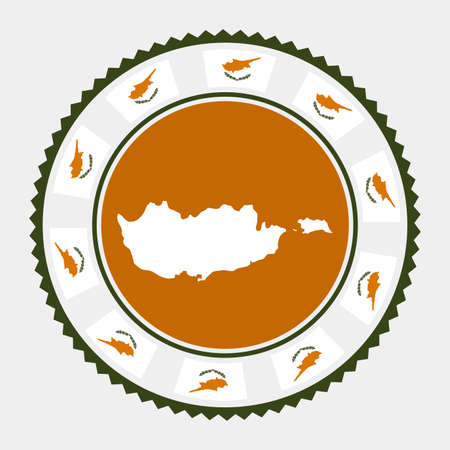Cyprus flat stamp.  map and flag of Cyprus. Vector illustration. Illustration