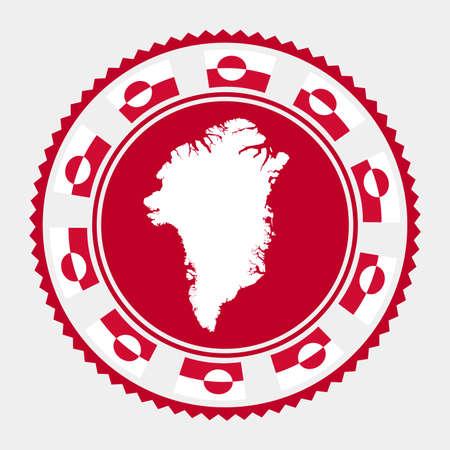 Greenland flat stamp.   map and flag of Greenland. Vector illustration. Illustration