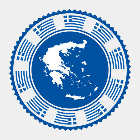 Greece flat stamp.   map and flag of Greece. Vector illustration.