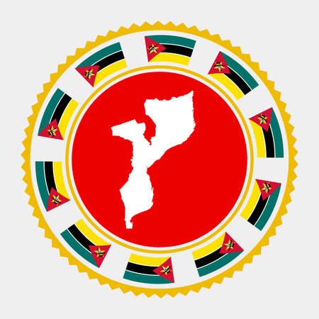 Mozambique flat stamp.   map and flag of Mozambique. Vector illustration.