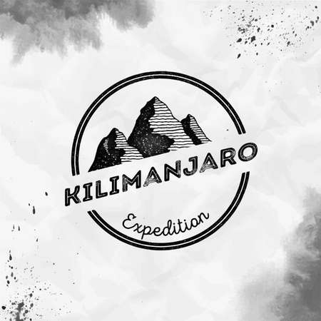Kilimanjaro Round expedition black vector insignia. Kilimanjaro in Eastern Rift, Tanzania outdoor adventure illustration.