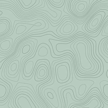 Contour lines. Actual topographic map in green tones, seamless design, valuable tileable pattern. Vector illustration.