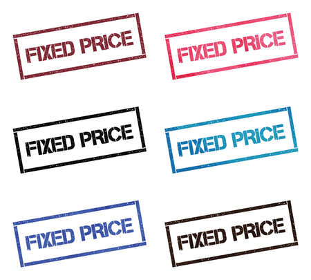 Fixed price rectangular stamp collection. Textured seals with text isolated on white backgound. Stamps in turquoise, red, blue, black and sepia colors. Colourful watercolor style vector illustration.