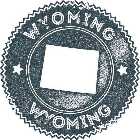 Wyoming map vintage stamp. Retro style handmade label, badge or element for travel souvenirs. Dark blue rubber stamp with us state map silhouette. Vector illustration.