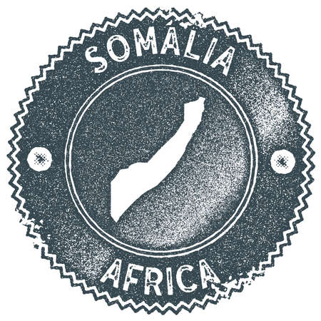 Somalia map vintage stamp. Retro style handmade label, badge or element for travel souvenirs. Dark blue rubber stamp with country map silhouette. Vector illustration.