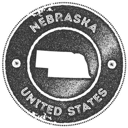 Nebraska map vintage stamp. Retro style handmade label, badge or element for travel souvenirs. Dark grey rubber stamp with us state map silhouette. Vector illustration.