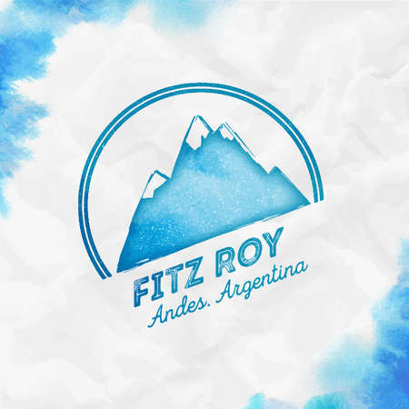 Fitz Roy Round mountain turquoise vector insignia. Fitz Roy in Andes, Chile outdoor adventure illustration. Climbing, trekking, hiking, mountaineering and other extreme activities template.