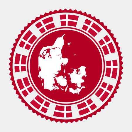 Denmark flat stamp.   map and flag of Denmark. Vector illustration.