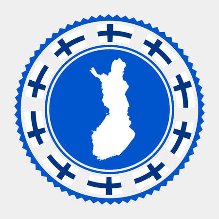 Finland flat stamp. map and flag of Finland. Vector illustration.