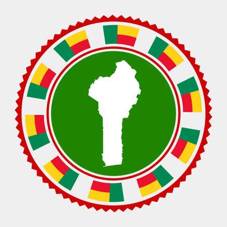 Benin flat stamp. map and flag of Benin. Vector illustration.