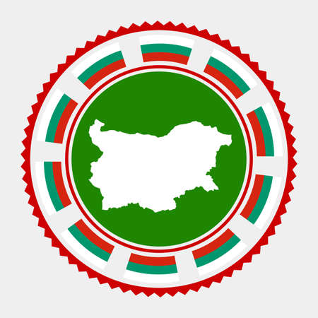 Bulgaria flat stamp. map and flag of Bulgaria. Vector illustration.
