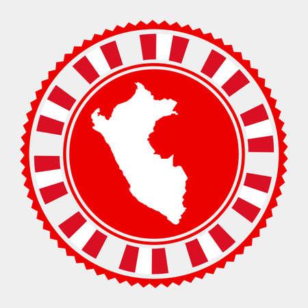 Peru flat stamp. map and flag of Peru. Vector illustration.