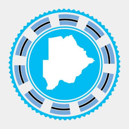 Botswana flat stamp. map and flag of Botswana. Vector illustration.